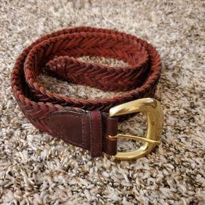 Braided leather w/solid brass buckle belt EUC M